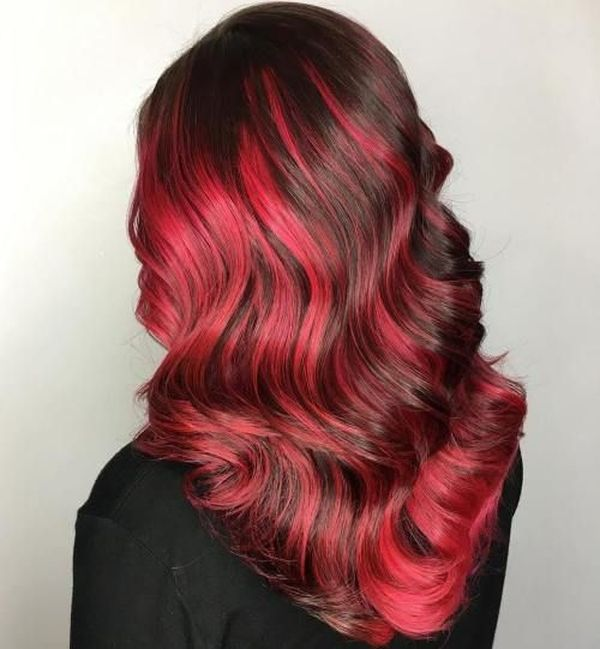 Cool Hairstyles For Dark Brown Hair With Bright Red Highlights 3