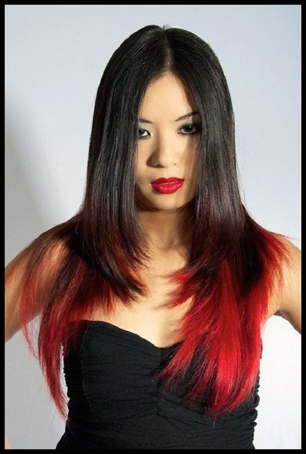 Impressive Black Hair With Red Highlights 3