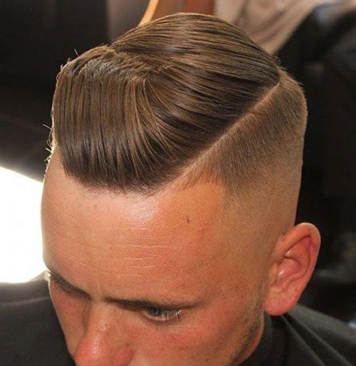 Angled Comb Over Fade with Hard Part