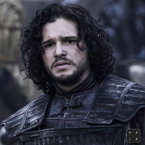 Jon-Snow-Hair-Curly-Long-Hair-Kit Harington Hair-Thick Flowing-Curly Hair with Beard-mens hairstyles
