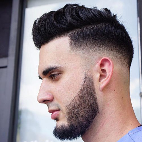 Mid Bald Fade + Quiff + Cool Beard Design