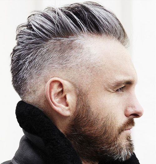 Low Drop Fade with Comb Over + Full Beard