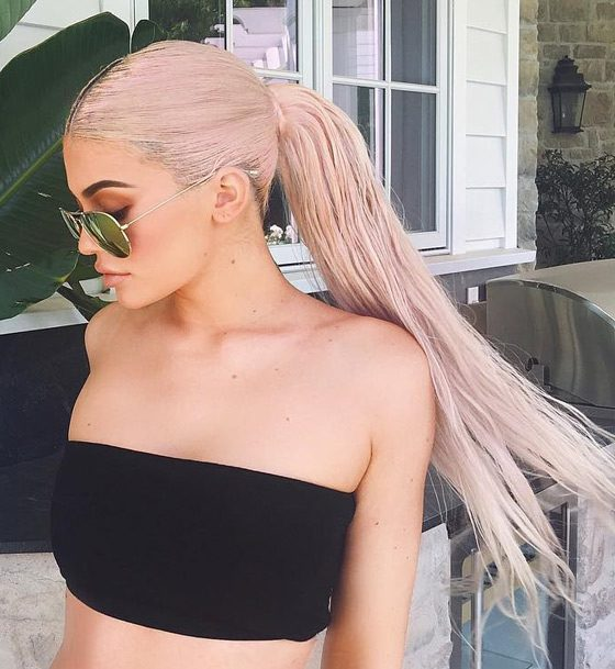 Kylie Jenner Hairstyles-Blush Pink Center Parted Ponytail