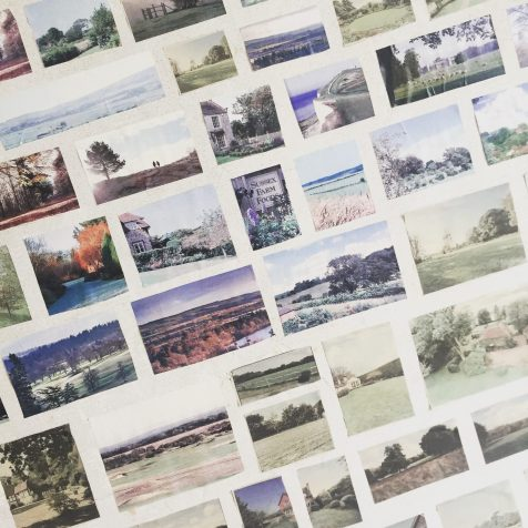 cut out landscape pictures stuck on wall