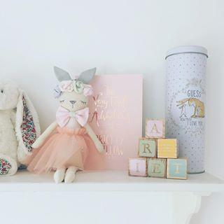 Peach Handmade Bunny on shelf with pastel letter bricks