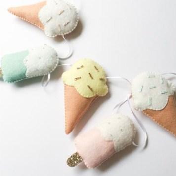 felt hand stitched Ice Cream Garland