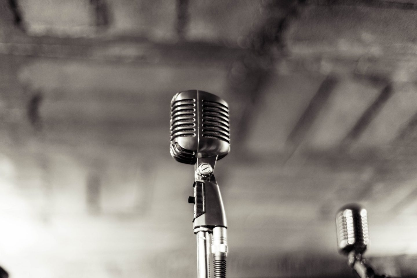black and white image of vintage microphone