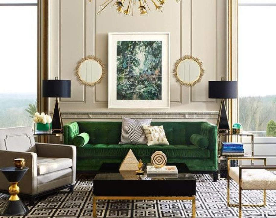 living room with brass accents