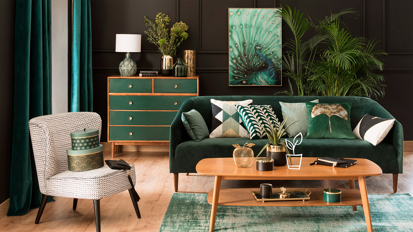 Room with Green sofa, walls and accessories
