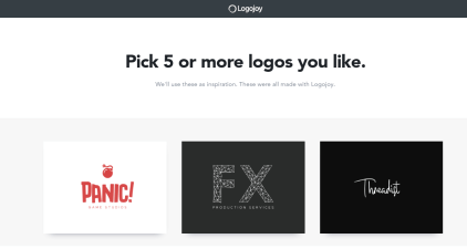 Logojoy logo options stage 1 | Looka logo maker review
