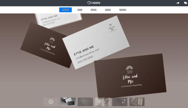 stage 5 logojoy design in action business cards