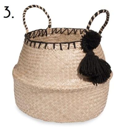 Plant basket with black pom pom