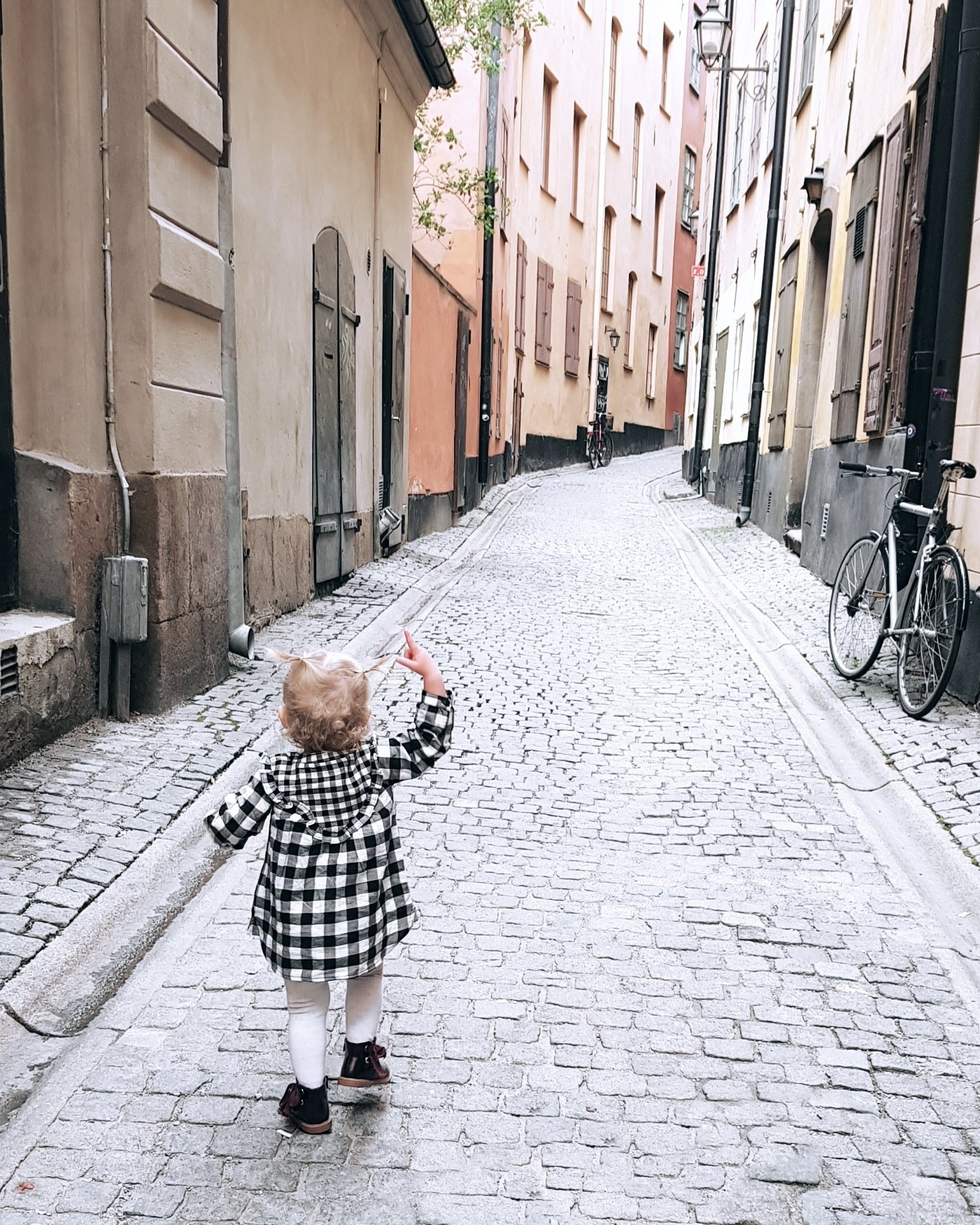 Cobbled streets of Stockholm travel with a toddler