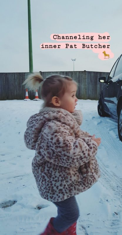 Letters to Ettie 21 months Toddler with high pony tail and fur coat