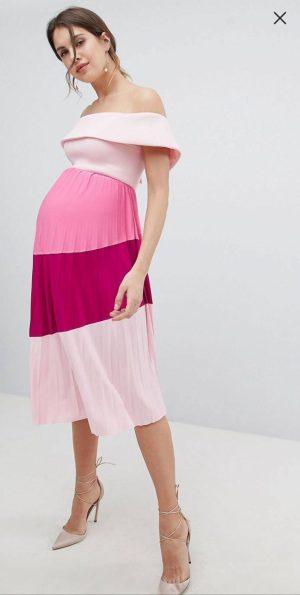 Pink Maternity Bardot dress
