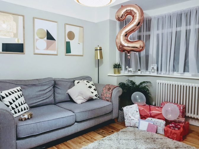 2 year olds birthday presents and balloon in living room | Letters to Ettie now you are two | The Halcyon Years
