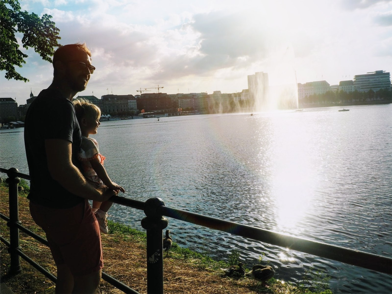 Daddy and Daughter at Binnenalster Lake, Hamburg with a Toddler | Ettie and Me