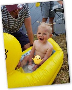 Ettie in a yellow floatie