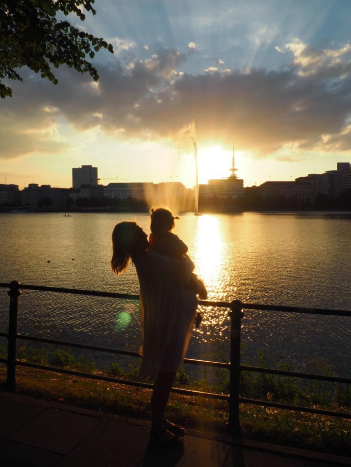 Mother and daughter at sunset Hamburg with a Toddler   The Halcyon Years