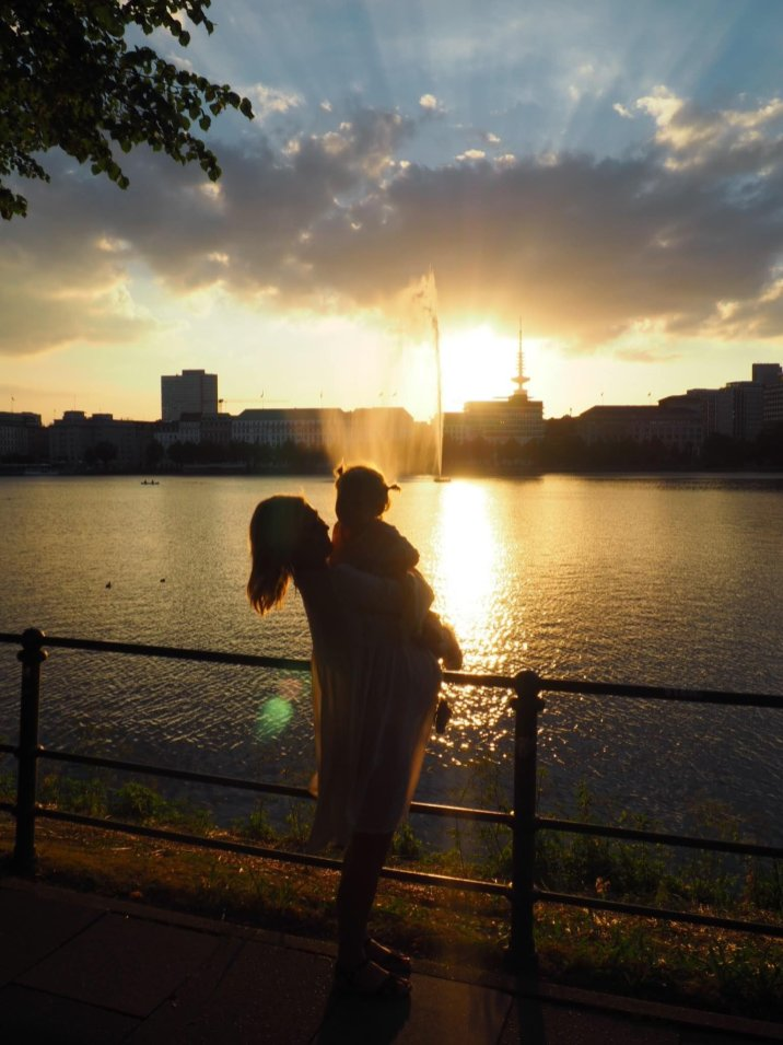 Mother and daughter at sunset Hamburg with a Toddler | The Halcyon Years