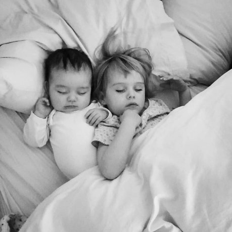Baby boy and 2 year old sister asleep in bed | The Halcyon Years