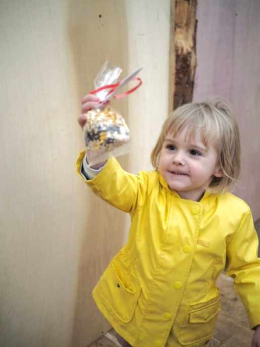 Toddler girl in yellow coat holding reindeer food at Tulleys Farm at Christmas