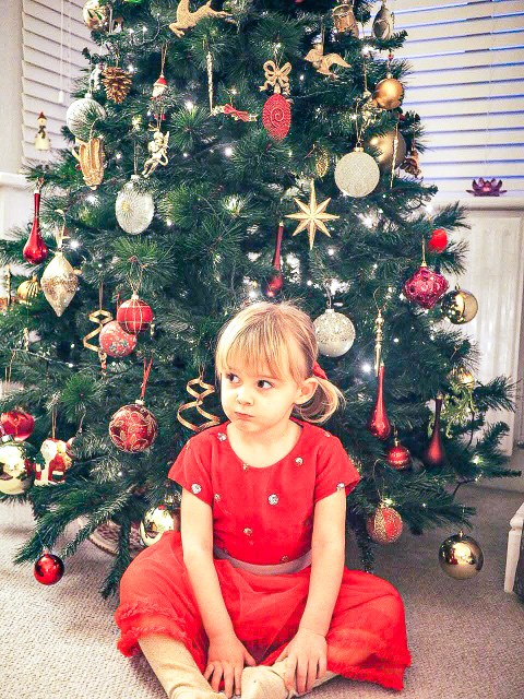 Toddler girl in red christmas dress in front of tree