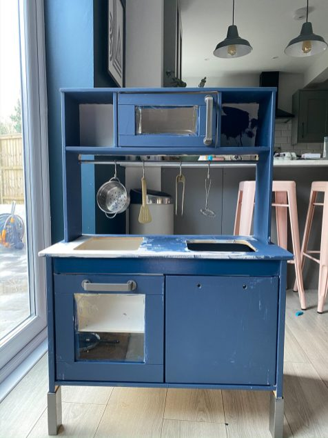 Stripped down Ikea Play Kitchen painted blue