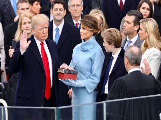 President Donald Trump swearing in poster