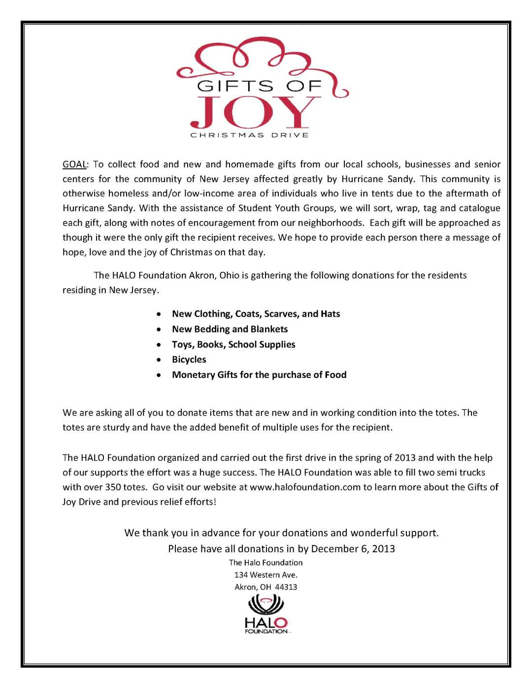 Gifts of Joy Christmas Drive Donation Guide - Halo Foundation