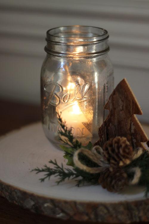 Diy Wood Slice Pedestal And Mercury Glass Mason Jar