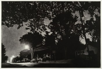 "Jacob Crook, Thurber Street Nocturne (Spring), Mezzotint, 16.25""x 24"" http://crookstudio.net/home.html"