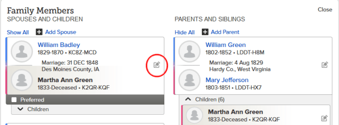 Edit Couple FamilySearch