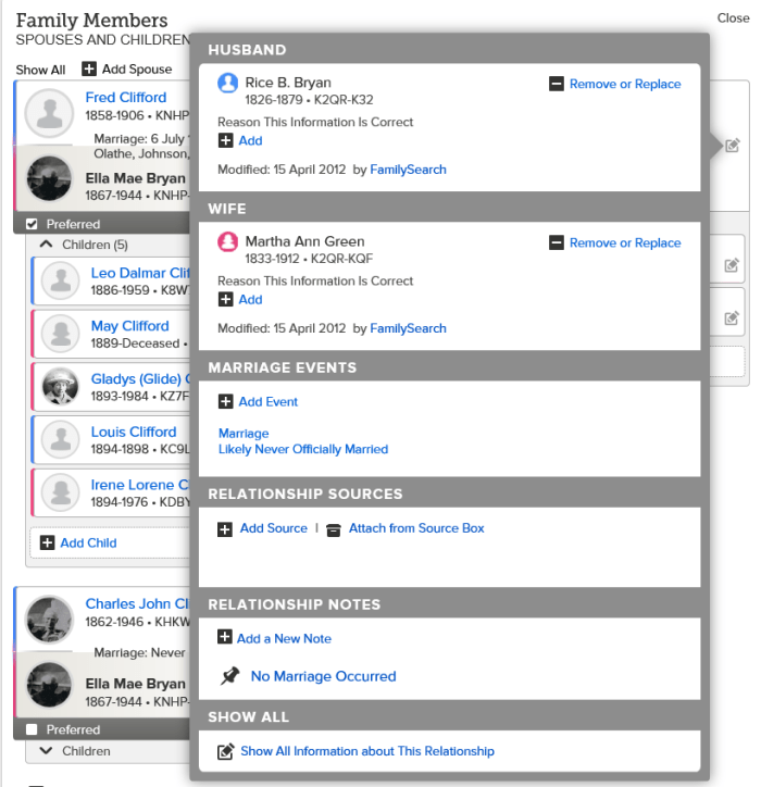 Never married familysearch