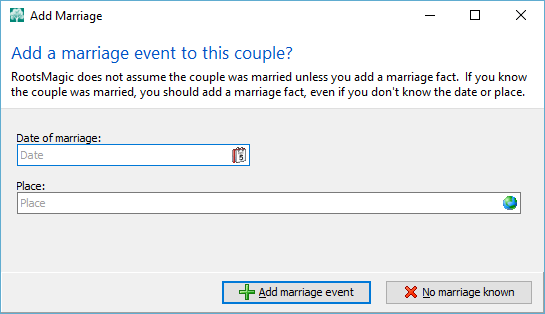 Rootsmagic marriage event