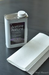 Acetone or mineral spirits to clean oils and dirt from table