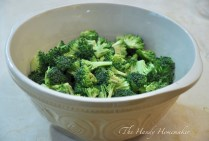 Cut up broccoli in bite size pieces