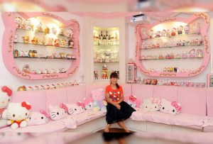 Una casa completamente decorada de Hello Kitty