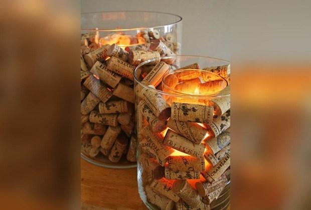 10 ideas de decoración utilizando corchos de vino - decoraci%C3%B3n-corcho-velas-1024x694