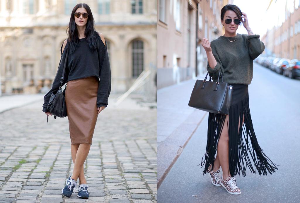 5 formas de usar sneakers con cualquier outfit - falda