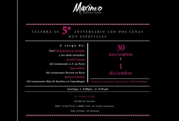 ¡Maximo Bistrot celebra su 5to aniversario a lo grande! - invitacion-maximo-bistrot-1024x694