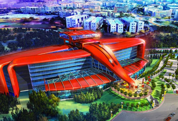 El parque de diversiones Ferrari Land conquistará España - parque-tematico-ferrari-hotel-1024x694