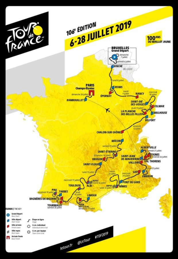 Él es Egan Bernal, el primer latinoamericano en ganar el Tour de France - mapa-francia-1