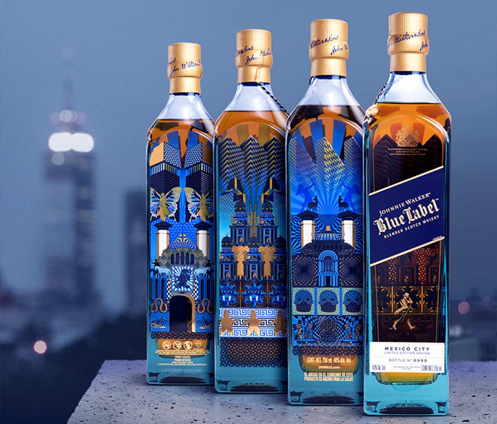 Así se ven los diseños mexicanos en nuestras botellas favoritas - johnnie-walker-blue-label-mexico