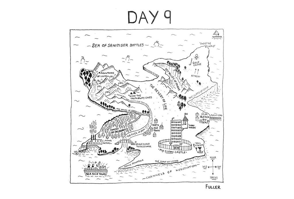 Esto es lo que pasó cuando un artista de mapas estuvo en cuarentena - gareth-fuller-10