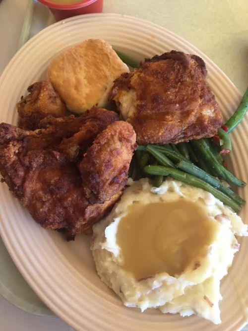 Fried Chicken at Plaza Inn. Order the full meal or a la carte.