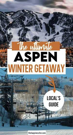 aspen ski resort with view of city and chair lifts in the winter against snow background
