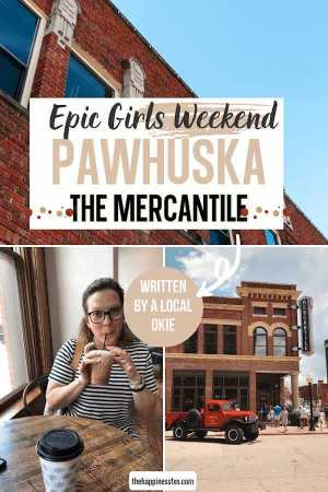 old brick building in Pawhuska Oklahoma, the pioneer woman mercantile storefront, girl drinking spicy cowgirl coffee at the p.w. bakery