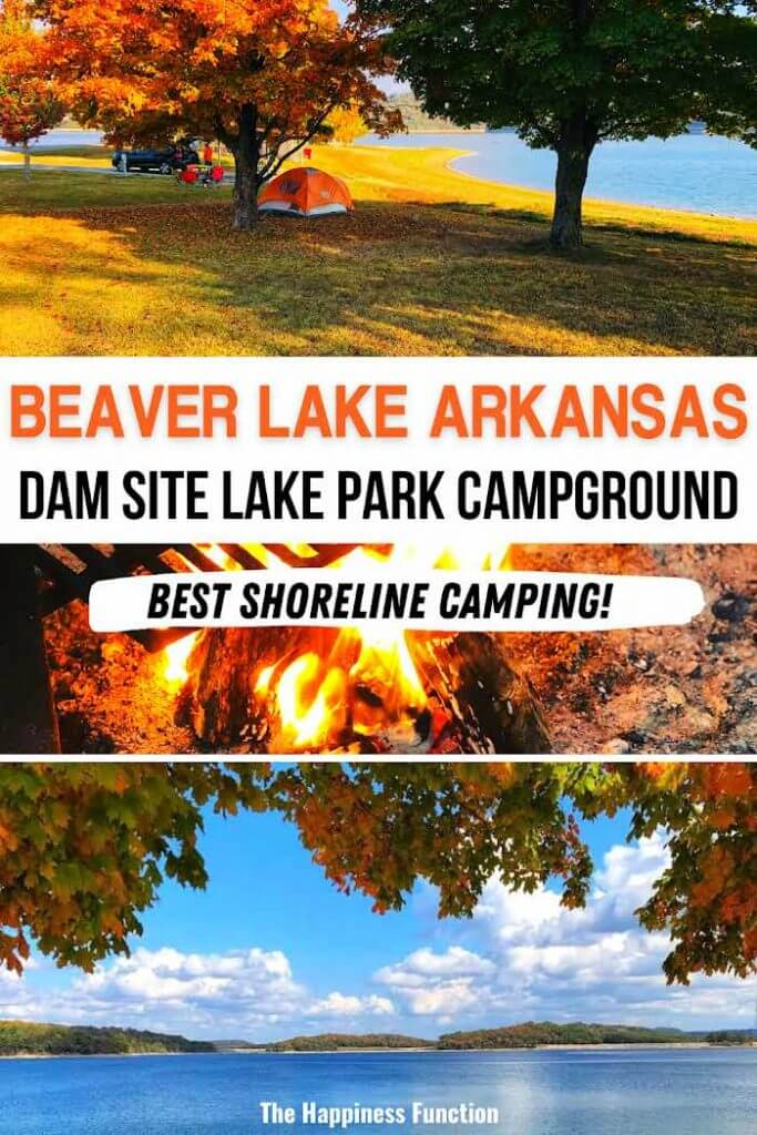 top photo: tent camping on the shore of Beaver Lake, Arkansas, middle photo: campfire, bottom photo: view of Beaver Lake