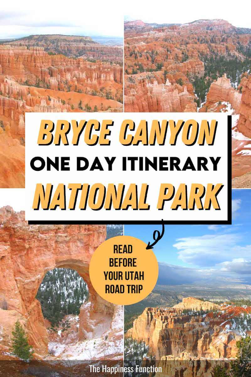 Alt text: top left photo: Bryce Canyon hoodoos, top right photo: Bryce Canyon view with snow on the ground, bottom left photo: Bryce Canyon Arch Natural Bridge, bottom right: Bryce Canyon viewpoint with snow on the ground